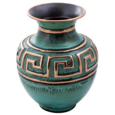 Copper and bronze decorative vase, 'Andean Character' - Copper and Bronze Decorative Vase Green from Peru