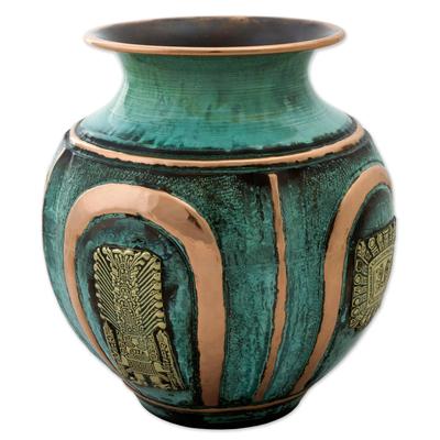 Copper and bronze decorative vase, 'Pre-Inca Character' - Copper and Bronze Pre-Incan Decorative Vase Green from Peru