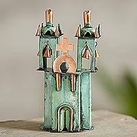 Copper and bronze sculpture, 'Ayacucho Church' - Copper and Bronze Sculpture of a Church Green from Peru