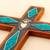 Chrysocolla and copper wall cross, 'Chrysocolla Cross' - Chrysocolla Copper Bronze Wood Cross Wall Decor from Peru (image 2b) thumbail