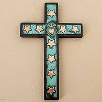 Bronze, copper and wood wall cross, 'Starry Sacred Heart'