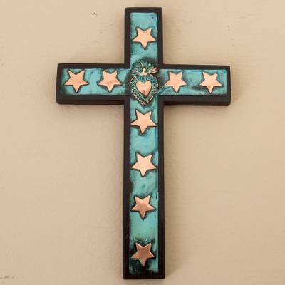 Bronze, copper and wood wall cross, 'Starry Sacred Heart' - Copper Bronze Wood Wall Decor Cross Heart Stars from Peru