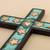 Bronze, copper and wood wall cross, 'Starry Sacred Heart' - Copper Bronze Wood Wall Decor Cross Heart Stars from Peru (image 2b) thumbail
