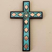 Copper, bronze and wood wall cross, 'Rhombus Sacred Heart'