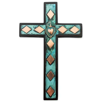 Copper, bronze and wood wall cross, 'Rhombus Sacred Heart' - Copper Bronze Wood Wall Decor Cross Heart from Peru