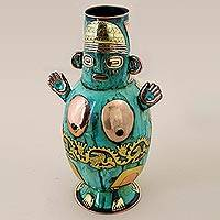 Copper and bronze decorative vase, 'Chancay Woman' - Copper Bronze Decorative Vase of a Person from Peru