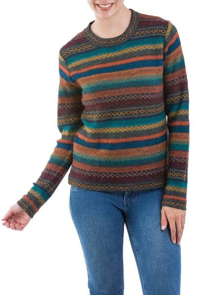 100% alpaca pullover, 'Andean Backgrounds' - Striped Multicolored Alpaca Wool Pullover from Peru