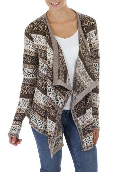 100% alpaca cardigan, 'Espresso Trails' - 100% alpaca Wool Cardigan in Espresso and Ivory from Peru