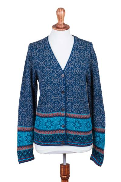 100% alpaca cardigan, 'Soft Azure' - 100% Alpaca Wool Cardigan in Azure and Smoke from Peru