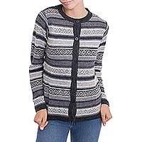 100% alpaca cardigan, 'Coal Black Diamonds' - Alpaca Wool Cardigan Striped Ivory Coal Black from Peru