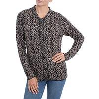 100% alpaca cardigan, 'Floral Trails' - 100% Alpaca Wool Floral Cardigan in Black and Tan from Peru