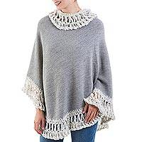 100% alpaca poncho, 'Frozen Solace in Grey' - Warm Peruvian Poncho in Titanium Grey Knitted in Soft Alpaca