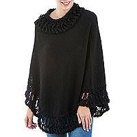 100% Baby alpaca poncho, 'Frozen Solace in Black' - Warm Peruvian Poncho Knitted in Soft Black Baby Alpaca