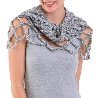 Alpaca blend neck warmer, 'Titanium Affair' - Light Grey Alpaca Blend Neck Warmer Crocheted by Hand