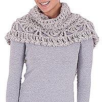 Alpaca blend neck warmer, 'Lighthearted Grey' - Alpaca Blend Neck Warmer Crocheted by Hand in Light Grey
