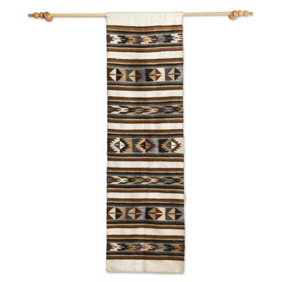 100% alpaca wool wall tapestry, 'Raya' - Hand Woven 100% Alpaca Wall Tapestry