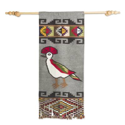 Alpaca blend tapestry, 'Fanciful Flight' - Handwoven Artisan Designed Alpaca Blend Tapestry