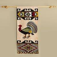 Alpaca blend tapestry, 'Prideful Peacock' - Artisan Designed and Crafted Alpaca Blend Tapestry