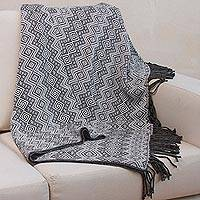 Throw blanket, 'Gunmetal Diamonds' - Alpaca Acrylic Blend Throw Blanket in Gunmetal and Eggshell