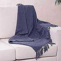 Throw blanket, 'Puno Traditions in Blue' - Alpaca and AcrylicThrow Blanket with Fringe in Denim Blue