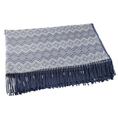 Alpaca Acrylic Blanket Fringe Prussian Blue Eggshell Peru