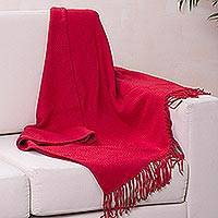 Throw blanket, 'Crimson Passion' - Crimson Alpaca and Acrylic Blend Throw Blanket with Fringe