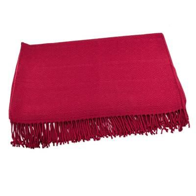 Throw blanket, 'Puno Traditions in Crimson' - Crimson Alpaca and Acrylic Blend Throw Blanket with Fringe