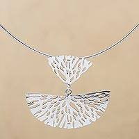 Sterling silver pendant necklace, 'Coral Fans' - Sterling Silver Openwork Two Piece Pendant Necklace Peru