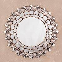 Mohena wood wall mirror, 'Peruvian Lily' - Antiqued Round Mohena Wood Wall Mirror from Peru