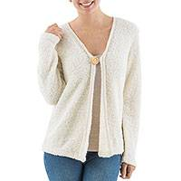 Alpaca blend boucle cardigan, 'Antique White'