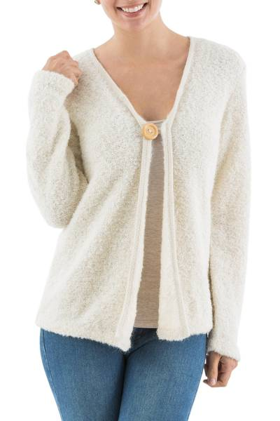 Alpaca blend boucle cardigan, 'Antique White' - Artisan Crafted Alpaca Blend Boucle Cardigan from Peru