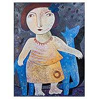 'Girl with Her Pet' - Signed Original Painting of Girl with Pet Peruvian  Artist