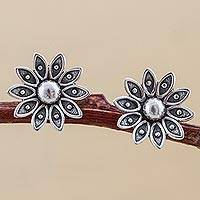 Sterling silver stud earrings, 'Spreading Lotus'