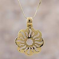 Gold plated sterling silver pendant necklace, 'Sunlight Tendrils' - Gold Plated Sterling Silver Sun Pendant Necklace from Peru