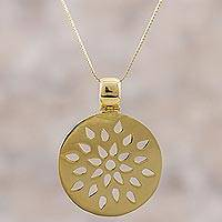 Gold plated sterling silver pendant necklace, 'Dropping Leaves' - Gold Plated Sterling Silver Round Pendant Necklace from Peru