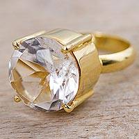 Gold plated quartz single stone ring, 'Clearly Golden'