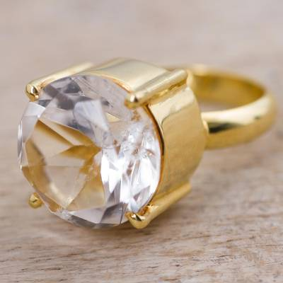 Gold plated quartz single stone ring, 'Clearly Golden' - Gold Plated Quartz Single Stone Ring from Peru