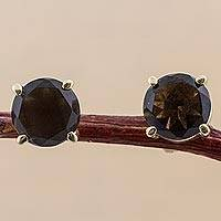 Gold plated smoky quartz stud earrings, 'Smoky Reflections' - Gold Plated Sterling Silver Smoky Quartz Stud Earrings Peru