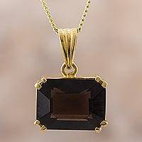 Gold plated smoky quartz pendant necklace, 'Smoky Prestige' - Gold Plated Smoky Quartz Pendant Necklace from Peru