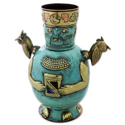 Copper, bronze, and onyx decorative vase, 'Huari Man' - Bronze Copper Onyx Antiqued Decorative Vase from Peru
