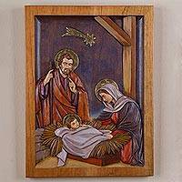 Cedar relief panel, 'Birth of Jesus under the Star' - Cedar Wall Relief Panel of Nativity Scene from Peru