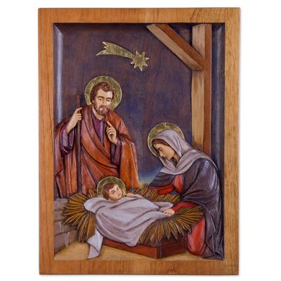 Cedar relief panel, 'Birth of Jesus under the Star' - Cedar Wall Relief Panel of Nativity Scene from Peru