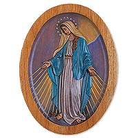 Cedar relief panel, 'Virgin of the Miraculous Medal' - Cedar Wall Relief Panel of the Virgin Mary from Peru