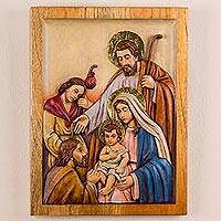 Cedar relief panel, 'Holy Family with Shepherds' - Peruvian Cedar Wall Relief Panel of the Holy Family