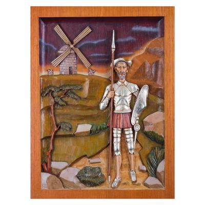 Cedar relief panel, 'Don Quijote of La Mancha' - Cedar Wood Wall Relief Panel of Don Quijote from Peru