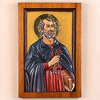 Cedar relief panel, 'Saint Peter the Apostle' - Cedar Wood Wall Relief Panel of Saint Peter from Peru