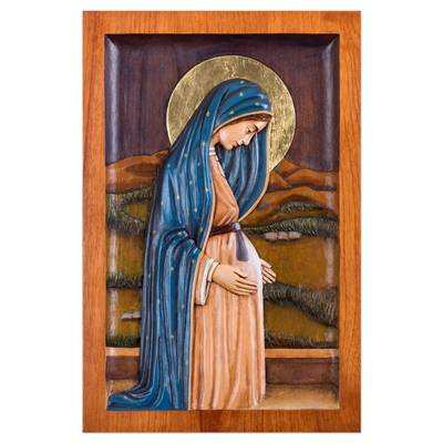 Cedar relief panel, 'Pregnant Virgin of Guadalupe' - Cedar Wood Wall Relief Panel of the Virgin of Guadalupe