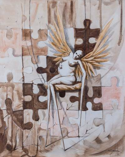 'Blessed Solitude' - Signed Painting of Pregnant Angel on a Swing by Peru Artist