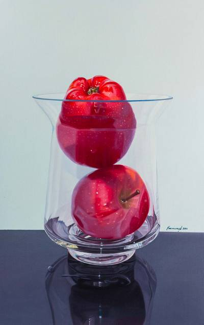 'Subtle Kiss' - Andean Hyperreal Oil on Canvas Still Life with Apples