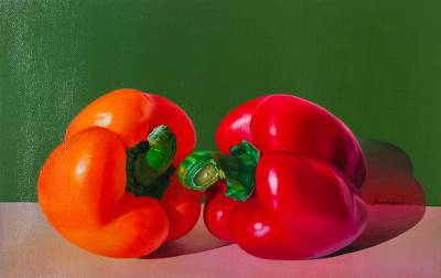 'Beautiful Colors' - Hyper Real Oil Painting or Red and Orange Peppers
